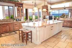 Kitchen with the views through the windows.
