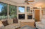 Living room, big windows, fireplace