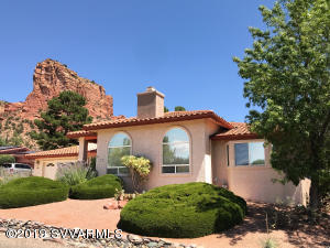 Southwest style home with views of Castle Rock