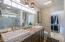 Dual Toto Slot Sinks, Granite counters, custom glass block above mirror, Toto Washlet Bidet