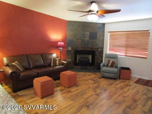 Wood look plank laminate, leather sofa bed & electric recliner
