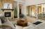 Sundance model home living room & fireplace
