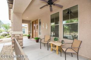 Covered front porch with views of the Catalina mountains