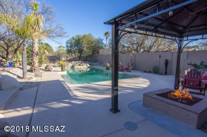 Pool, Water Feature, and Gas Fire Pit