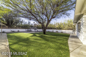 on faux grass (no mowing or water needed!)