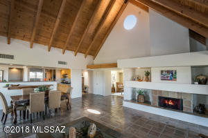 Spacious great room with AMAZING 20' cathedral wood beamed ceilings.