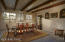Great room w/ exposed beams is a great space for living room/dining room