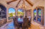 Dining Room w/ Hand Carved Wood Beams and Built-in Cabintery