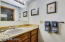 Jack & Jill bath for guest bedrooms- each side has separate sink area