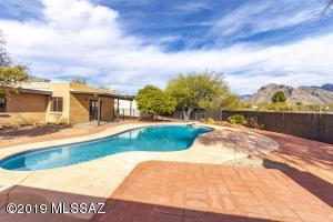 Rear pool view with amazing view of the Catalina Mountains.