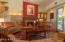 LIVING ROOM WITH FIREPLACE, WET BAR, VAULTED CEILING, HARDWOOD FLOORS~FURNISHED