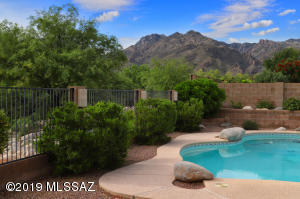 Sparkling pool in the shadow of the Catalina Mountains