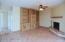 Built in saguaro rib entertainment center in family room