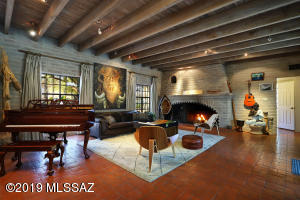 Living room with beams from Mt. Lemmon