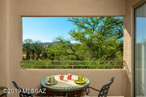 Private and serene balcony view of open space, Tortolita Mtns and sunsets.