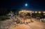 Backyard sitting area in the twilight
