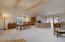 Great open space with high ceilings and beams.