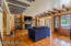 Large great room with unique beams