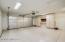 Garage with epoxy floor and storage cabinets