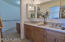 Double sinks with solid surface and back splash