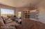 Built in media area with accent shelves and huge picture window of desert beauty!