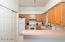 Kitchen with pantry view.
