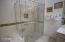 Upgraded Shower w/ artistic glass & tilework