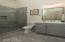 Tile surround shower, glass shower door, modern tile selections.