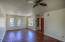 Spacious, light & bright front room great for living / dining / home officing! All windows have black out security/storm shutters!!!