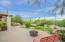 elevated patio overlooking walled garden