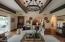 Wood Beamed Ceilings & Beautiful Chandelier