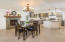 Open floor plan with dining room open to the kitchen