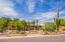 Low care desert landscaping including a mature Saguaro