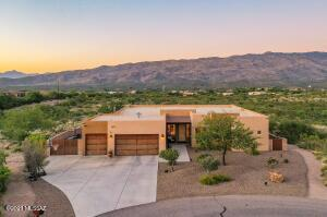 Aerial View of Front of home with Rincon Mountains in the background