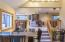 Custom built wet bar (negotiable). Looking from kitchen to LR