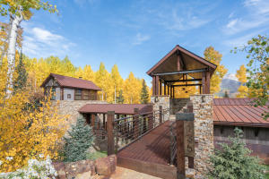 Breathtaking fall colors enhance the architectural elements of the home
