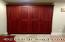 Deep Red Custom Pantry; Slide Out Shelving