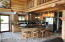 Beautiful Kitchen Area / Yellowstone Log Home Cabinets / Stainless Appliances.