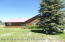 lawn has sprinkler system and large mature pine trees
