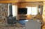 View of the wood stove and living space