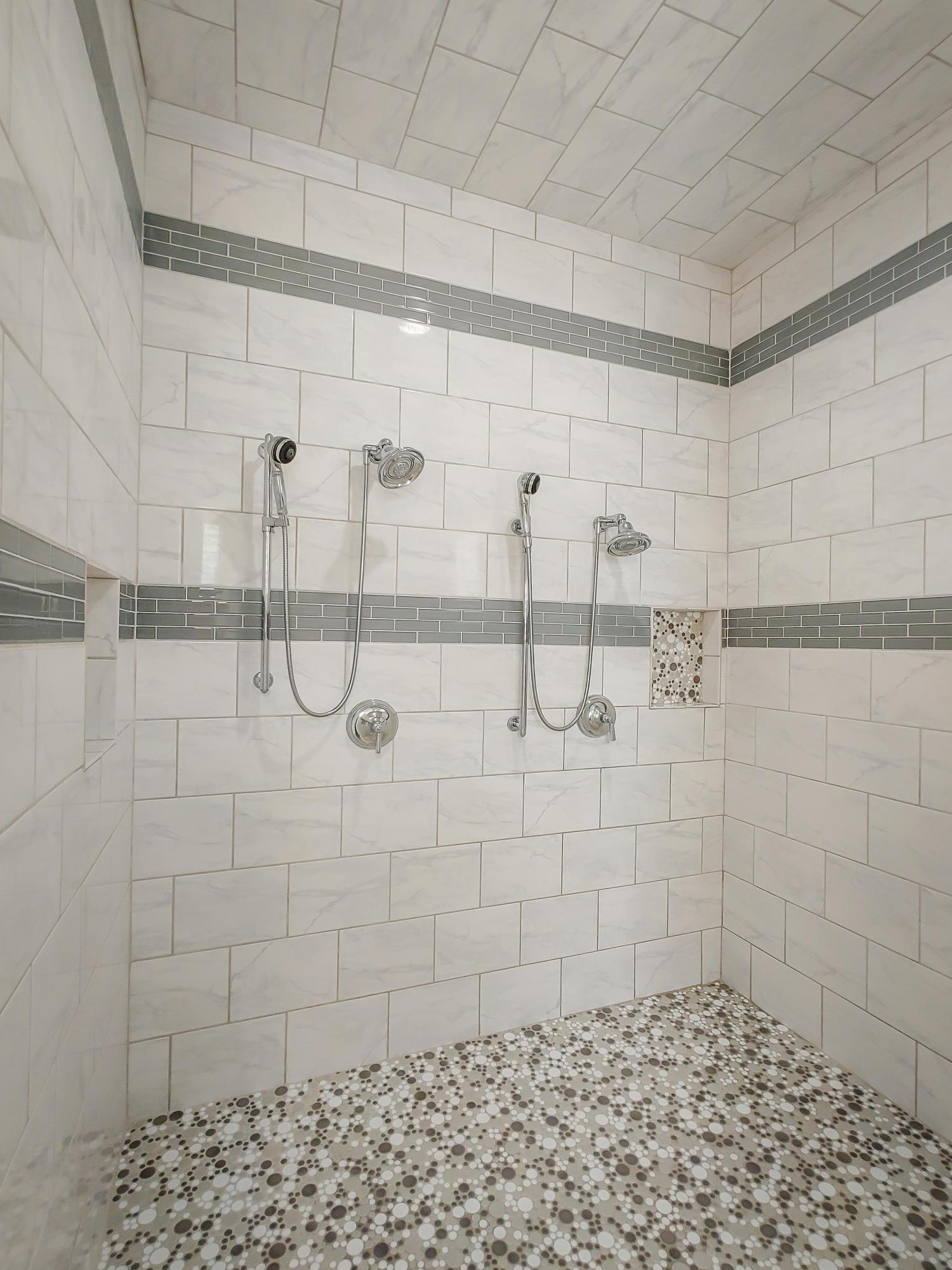 Huge walk in tile shower