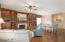Built in cabinets in the family/great room. Murals on two walls