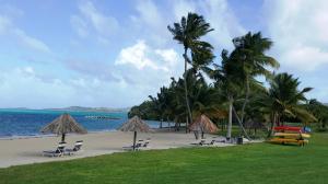White Sandy Beach with Tiki Huts
