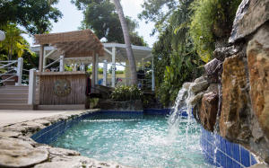 Gorgeous pool and waterfall, covered entertainment gazebo