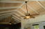 Living Area's pickled tongue and groove Cypress ceiling.