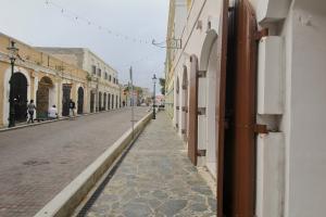 New stone street and sidewalk
