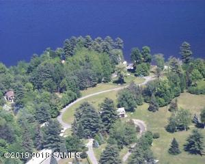 Aerial showing roadways, landscaping & shoreline