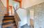 glass tile walls, slate tile floor