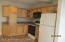 kitchen, gas range, microwave, refriderator included