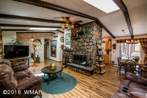 Huge stone fireplace is the focal point!